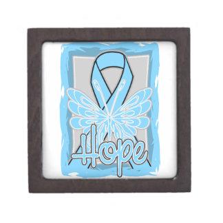 Retrato de la mariposa de la esperanza del cáncer caja de joyas de calidad