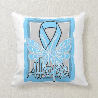 Retrato de la mariposa de la esperanza del cáncer cojin