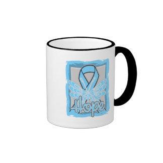 Retrato de la mariposa de la esperanza del cáncer tazas de café