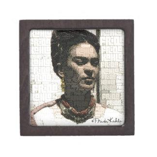 Retrato de la materia textil de Frida Kahlo Cajas De Joyas De Calidad
