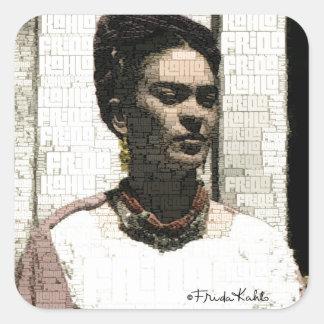 Retrato de la materia textil de Frida Kahlo Pegatina Cuadrada