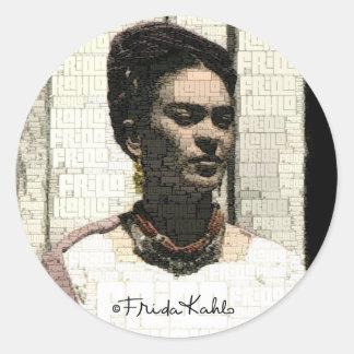 Retrato de la materia textil de Frida Kahlo Pegatina Redonda