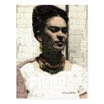 Retrato de la materia textil de Frida Kahlo Tarjeta Postal