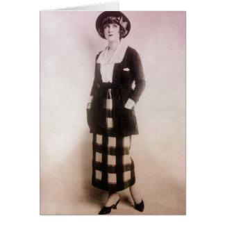 Retrato de la moda del vintage felicitación