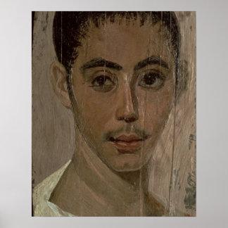 Retrato de la momia de un muchacho con un ojo heri póster