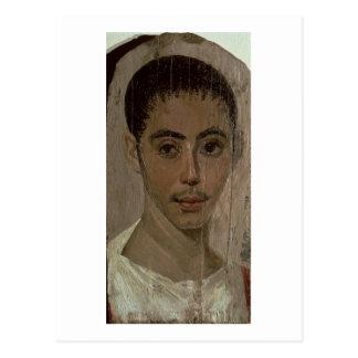 Retrato de la momia de un muchacho con un ojo tarjeta postal