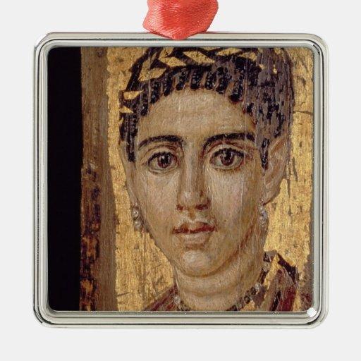 Retrato de la momia de una mujer, de Fayum, Adorno Navideño Cuadrado De Metal