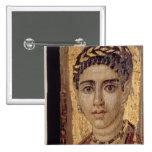 Retrato de la momia de una mujer, de Fayum, Romano Pin Cuadrada 5 Cm