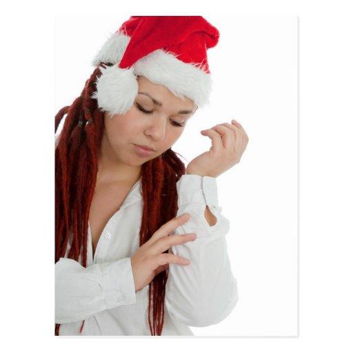 Retrato de la muchacha moderna joven del navidad postal