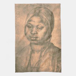 Retrato de la mujer africana Catherine por Durer Toallas De Mano