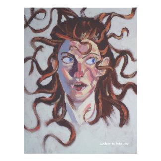 Retrato de la mujer con el pelo salvaje tarjeta publicitaria