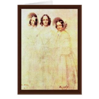 Retrato de la mujer Crelinger con sus hijas Felicitaciones