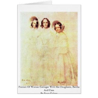 Retrato de la mujer Crelinger con sus hijas Tarjetas
