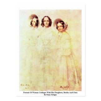Retrato de la mujer Crelinger con sus hijas Postal