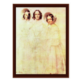 Retrato de la mujer Crelinger con sus hijas Postales