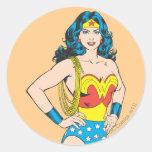 Retrato de la Mujer Maravilla Pegatinas Redondas