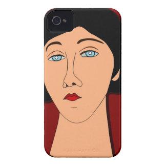 Retrato de la mujer triste iPhone 4 funda