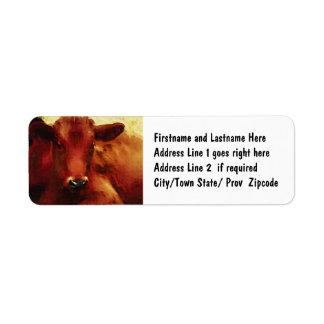 Retrato de la pintura al óleo de la vaca etiqueta de remite