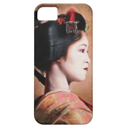 Retrato de la pintura digital del geisha hermoso iPhone 5 Case-Mate cárcasas