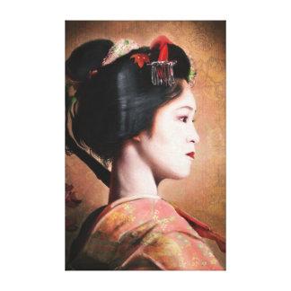 Retrato de la pintura digital del geisha hermoso impresiones de lienzo