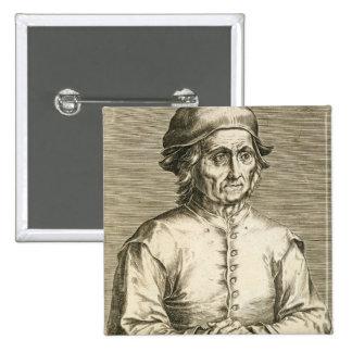 Retrato de la placa 3 de Hieronymus Bosch (c.1450- Pin Cuadrado