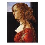 Retrato de la postal de la mujer joven