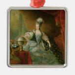 Retrato de la reina de Marie Antonieta de Francia Adorno Navideño Cuadrado De Metal
