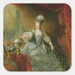 Retrato de la reina de Marie Antonieta de Francia Pegatina Cuadrada