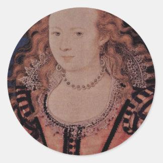 Retrato de la reina Elizabeth del óvalo de Bohemia Pegatina Redonda
