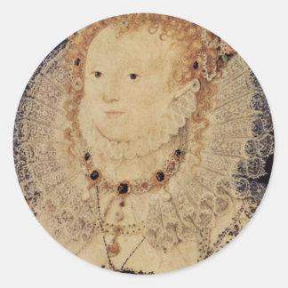 Retrato de la reina Elizabeth I del óvalo de Pegatina Redonda