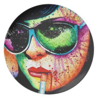 Retrato de la salpicadura del arte pop del arco ir plato para fiesta