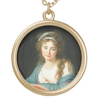 Retrato de la señora francesa collar dorado