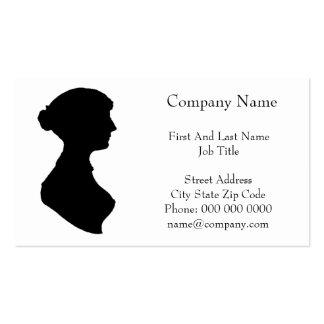 Retrato de la silueta de la mujer de la regencia tarjetas de visita