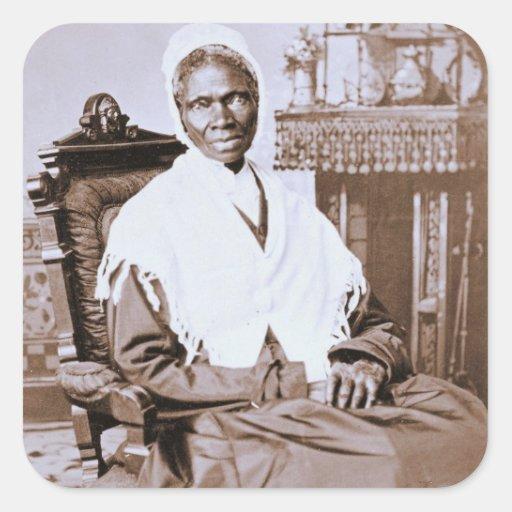 Retrato de la verdad del Sojourner circa 1870 Pegatina Cuadrada