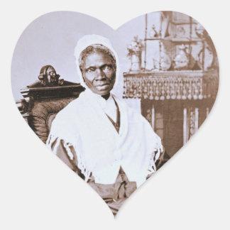 Retrato de la verdad del Sojourner circa 1870 Pegatina En Forma De Corazón