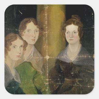 Retrato de las hermanas de Bronte, c.1834 Pegatina Cuadrada