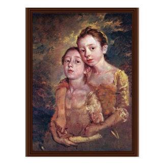Retrato de las hijas de los pintores con un gato postal
