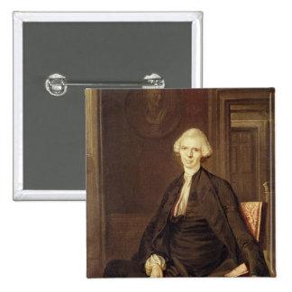 Retrato de Laurence Sterne Pin Cuadrado