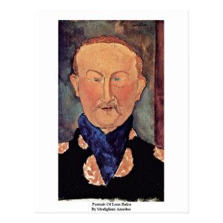 Retrato de León Bakst de Modigliani Amedeo Postal