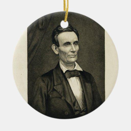 [Retrato de Lincoln, la prueba de artista Adorno Navideño Redondo De Cerámica