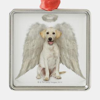 Retrato de llevar blanco del labrador retriever adorno navideño cuadrado de metal
