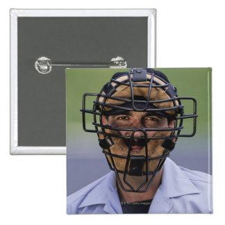 Retrato de llevar del árbitro del béisbol pin cuadrado
