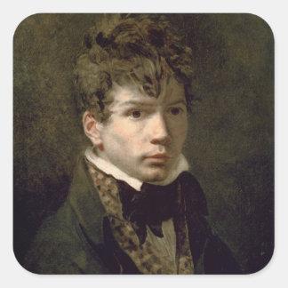 Retrato de los 1790s jovenes de Ingres Pegatina Cuadrada