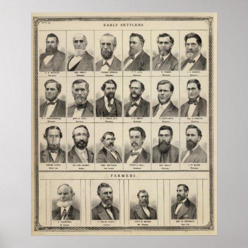 Retrato de los colonos y de los granjeros temprano póster