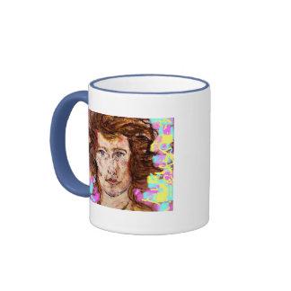 retrato de los colores de una mujer joven taza de dos colores
