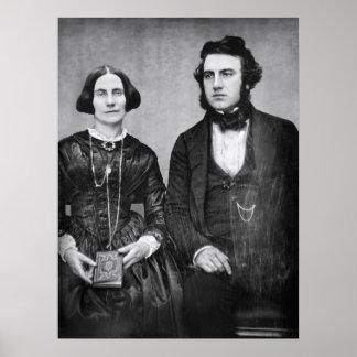 RETRATO de los PARES C. 1845 MARRIED Póster