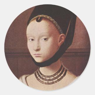 Retrato de los pegatinas de una chica joven pegatina redonda