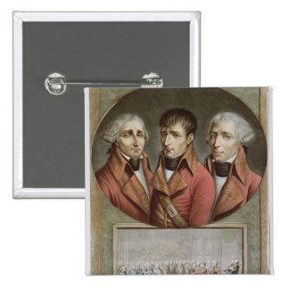 Retrato de los tres cónsules de la república pin cuadrado