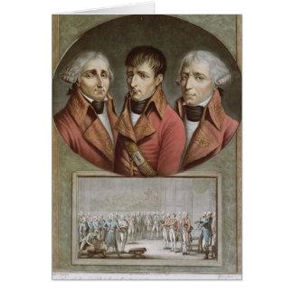 Retrato de los tres cónsules de la república tarjeta de felicitación