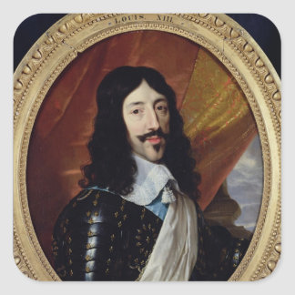 Retrato de Louis XIII después de 1610 Pegatina Cuadrada